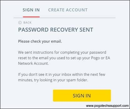 password recovery sent